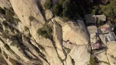 China Mt Huashan Aerial v21 Flying over Changkong Plank Road along cliffside 517 Stock Footage