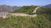 badaling : China Great Wall Aerial v2 Flying low besides famous structure 517 Stock Footage