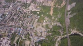 construction roads : China Huayin Aerial v1 Birdseye view flying high over Huashan and park entrance 517