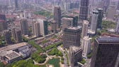 establishing shot : China Shanghai Aerial v1 Flying over Taipingqiao Park with cityscape views 517 Stock Footage