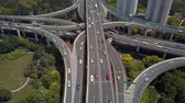 поднятый : China Shanghai Aerial v10 Vertical view flying over Yanan Middle (East) Crossing panning up 517