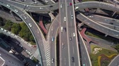mavic : China Shanghai Aerial v11 Vertical view flying over Yanan Middle (East) Crossing 517 Stock Footage