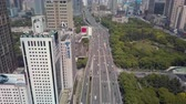 mavic : China Shanghai Aerial v12 Flying over Yanan Elevated road panning up cityscape views 517 Stock Footage