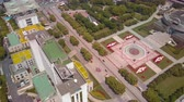 government district : China Shanghai Aerial v19 Birdseye flying over Peoples Square with cityscape views 517
