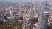 government district : China Shanghai Aerial v22 Birdseye flying over Peoples Square with cityscape views 517