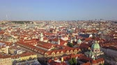 mavic : Czech Republic Prague Aerial v1 Flying low over Old Town area cityscape views 817 Stock Footage