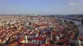 mavic : Czech Republic Prague Aerial v2 Flying low over Old Town area cityscape river views 817 Stock Footage