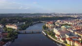 mavic : Czech Republic Prague Aerial v5 Flying low over Vltava River area cityscape views 817 Stock Footage