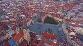 gotický : Czech Republic Prague Aerial v14 Birdseye flying low around Old Town Square sunrise 817