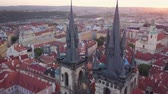 romanesk : Czech Republic Prague Aerial v17 Flying low around Church of Our Lady before Tyn towers 817