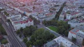lad : Germany Berlin Aerial v12 Birdseye flying around Savignyplatz park area with sunset views 817 Stock Footage