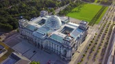 contemporâneo : Germany Berlin Aerial v20 Birdseye flying low around Reichstag building sunset 817