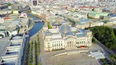 farra : Germany Berlin Aerial v21 Birdseye flying low around Reichstag building sunset cityscape 817 Vídeos