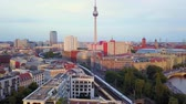 farra : Germany Berlin Aerial v25 Flying low around Monbijou Park area with cityscape views sunset 817