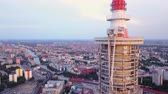 mavic : Germany Berlin Aerial v30 Flying low around Berliner Fernsehturm tower cityscape views sunset 817