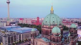 low season : Germany Berlin Aerial v37 Flying low around Cathedral Church building cityscape dusk 817