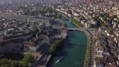 mavic : Switzerland Zurich Aerial v4 Birdseye flying low around District 1 area cityscape views 817 Stock Footage