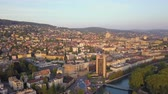 mavic : Switzerland Zurich Aerial v14 Flying low around downtown area cityscape views sunset 817