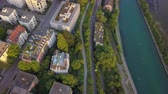 mavic : Switzerland Zurich Aerial v17 Birdseye view flying low over park and Limmat River area 817 Stock Footage
