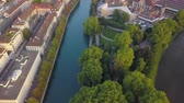 mavic : Switzerland Zurich Aerial v19 Birdseye view flying low over Platzspitz park and Limmat River area 817