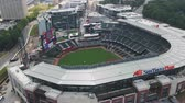 стенды : Atlanta Aerial v334 Birdseye closeup flying around baseball stadium before game 1117