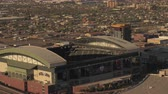 погоня : Phoenix Arizona Aerial v9 Birdseye view flying low around stadiums sunset 916