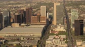 flat roof : Phoenix Arizona Aerial v10 Birdseye view flying low around downtown area sunset cityscape 916