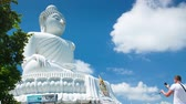 statue : white big buddha in phuket thailand time lapse