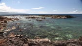zátoka : Oahu, Hawaii - August 26, 2016:Scenic panorama of Sharks Cove, Hawaii, a small rocky bay side of Pupukea Beach Park. One of the best snorkeling site on Oahu in Hawaii. Dostupné videozáznamy