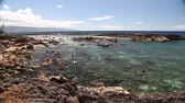 enseada : Oahu, Hawaii - August 26, 2016:Sharks Cove panorama, one of best scenic stops along the popular North Shore. One of the best snorkeling site on Oahu in Hawaii.