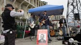 federal : San Francisco, United States - August 14, 2016: concert at Alcatraz  penitentiary sally port of William G. Baker a former prisoner of Alcatraz,  number 1259. Writer of a book about prison.