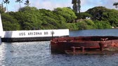 shipwreck : HONOLULU, OAHU, HAWAII, USA - AUGUST 21, 2016:USS Arizona BB 39 Memorial at Pearl Harbor. Sunken during the Japanese surprise attack on December 7, 1941. National historic landmark.Patriotic concept