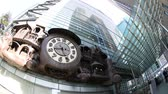 miyazaki : Tokyo, Japan - April 20, 2017:Giant Ghibli clock time lapse on Nittele Tower (headquarters of Nippon Television) in Shiodome area, Minato. It was designed by Hayao Miyazaki co-founder of Studio Ghibli