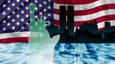 terrorist : American patriotic animation of New York with Manhattan skyline and Twin Towers  reflected in Hudson river, the Flag  and the Statue of Liberty. Stock Footage