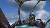 рычаг : Helicopter cockpit flying in a blue cloudy sky, with pilot arm in driving cabin