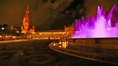 plaza de espana : 180 degree panoramic view of the pink fountain at Plaza de Espana square in Seville city by night, Andalusia, Spain Stock Footage