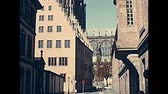 petite france : Strasbourg canals on historical bridges Pont du Corbeau and Pont Sainte-Madeleine in Strasbourg downtown. Archival from the 1970s in France. UNESCO World Heritage city. Stock Footage
