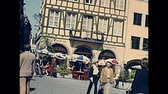 petite france : STRASBOURG, FRANCE - CIRCA 1970: architectural details of typical Strasbourg buildings. Church Our Lady of Strasbourg seen in background in downtown. 1970s archival from French UNESCO Heritage city. Stock Footage