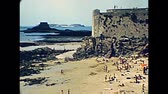 brittany : Aerial view of Bon Secours beach with tourists from top view of Saint Malo in the 70s. Saint Malo walled port town, archival from 1976 in France. UNESCO World Heritage Site.