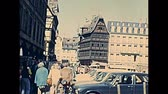 petite france : STRASBOURG, FRANCE - CIRCA 1970: Historical 1500s Maison Kammerzell old house of Strasbourg in Place de Cathedrale square. Hotel and restaurant by cathedral of Our Lady of Strasbourg. UNESCO building. Stock Footage