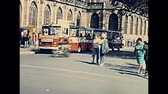 petite france : STRASBOURG, FRANCE - CIRCA 1970: Historical Place du Chateau square with vintage car traffic. 1970s Cathedral of Our Lady of Strasbourg street view in Strasbourg downtown.