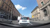 view point : Bologna, Italy - May 19, 2018: POV driving to Bologna downtown along the Porrettana avenue, passing by historic Bologna train station. Stock Footage