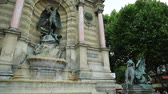 monumentální : Paris, France - July 1, 2017: Fontaine Saint-Michel is one of the most monumental fountains in Place Saint-Michel. In front of fountain, two water-spouting dragons. Paris, France in europe.