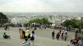 merdiven : Paris, France - July 3, 2017: panorama of Paris at dawn and skyline above Paris. Wide angle view of staircase of Sacred Heart Church from terrace of Cathedral, highest Paris in Montmartre, France.