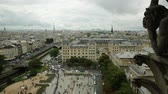 socha : Panoramic skyline aerial view of Paris in France with the Tour Eiffel tower and Pont Saint-Michel bridge on Senna river, from top of the church Notre Dame of Paris, France. Dostupné videozáznamy