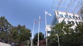 mnohonárodnostní : San Jose, CA, United States - August 12, 2018: USA and California flags at Paypal Headquarters in Silicon Valley. Paypal is a corporation providing a virtual bank and payments for internet business. Dostupné videozáznamy