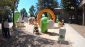 google campus : Mountain View, CA, United States - August 13, 2018:Android statues at Googles Merchandise Store Google Visitor Center. Statues of Android characters are a popular touristic landmark of Silicon Valley