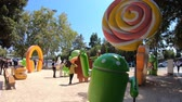 google campus : Mountain View, CA, United States - August 13, 2018: Android Lollipop statue at Googles Merchandise Store and Google Visitor Center Beta. Android lawn are a popular place for touristic selfies.