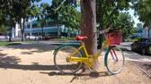 google campus : Mountain View, California, United States - August 13, 2018: colorful new Google bike at Charleston Campus of Google HQ in Silicon Valley near Googleplex.