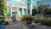 google campus : Sunnyvale, California, United States - August 13, 2018: relax area outdoor Tech Corners, the new Google Campus in Sunnyvale, Silicon Valley, San Francisco Bay area.